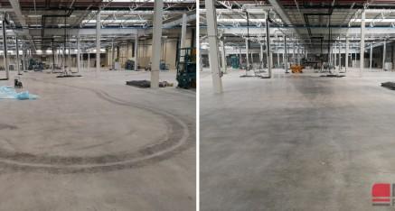 Zmywanie oleju z posadzki betonowej Bosch BHS, Łódź 2019