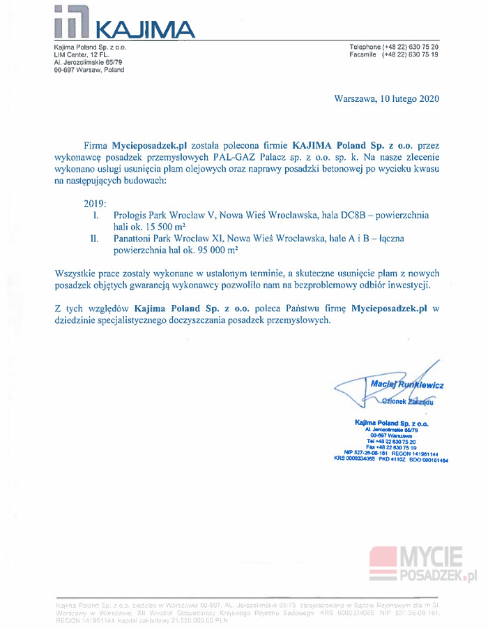 Referencje Kajima MycieposadzekPL 2020
