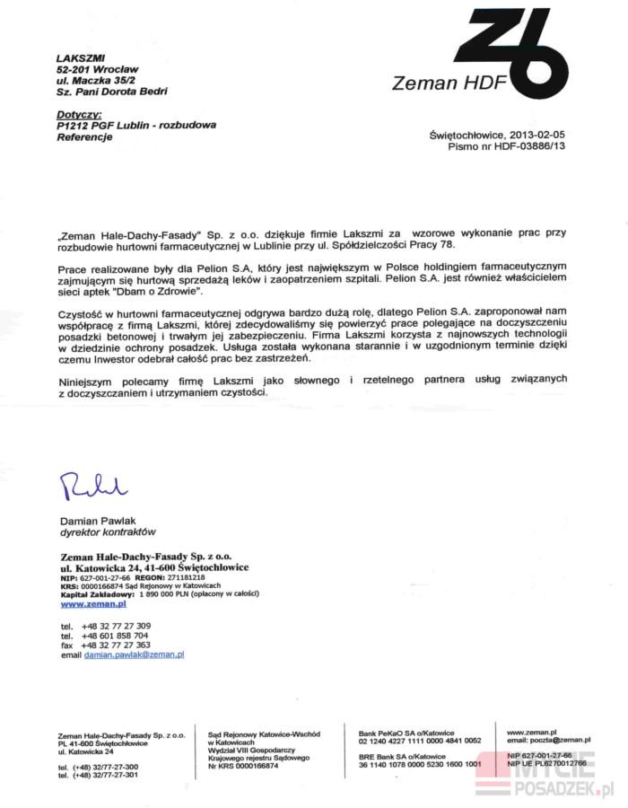 Referencje Impregnacja Posadzki Przemysłowej